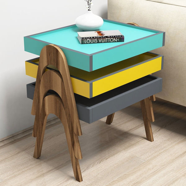 Picture of Nancy's Tamiami Side table - Industrial - Brown, Blue, Grey - Fabricated Wood - 64 cm x 54 cm x 40 cm