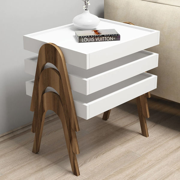 Picture of Nancy's Kendale Lakes Side Table - Industrial - Brown, White - Fabricated Wood - 64 cm x 54 cm x 40 cm