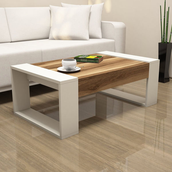 Picture of Nancy's Blue Springs Coffee Table - Modern - Brown, White - Fabricated Wood - 38 cm x 102 cm x 60 cm