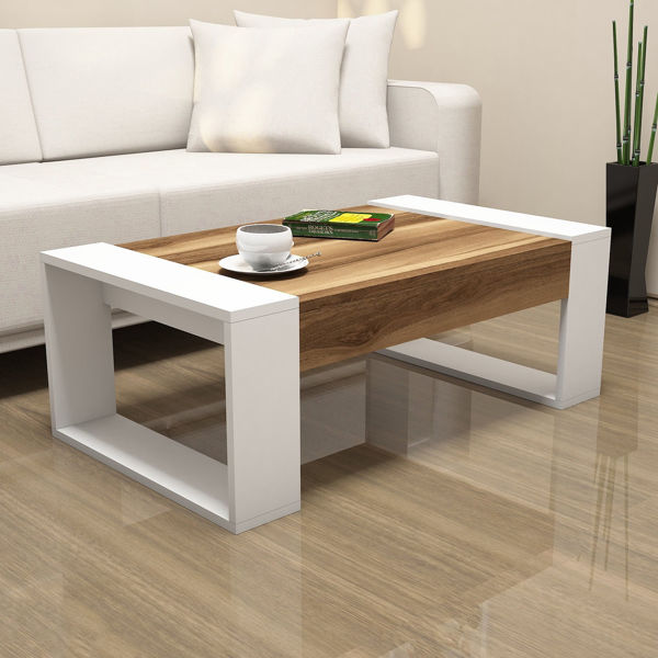Picture of Nancy's Tinley Park Coffee Table - Modern - Brown, White - Fabricated Wood - 38 cm x 102 cm x 60 cm