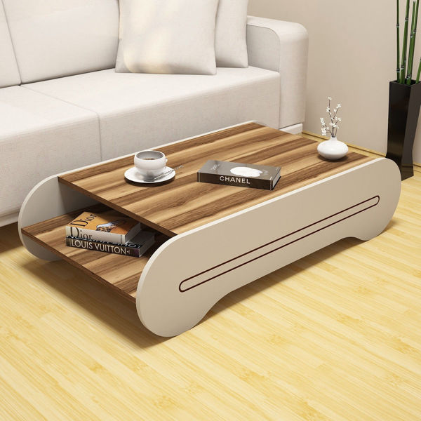 Picture of Nancy's Grapevine Coffee Table - Design - Brown, White - Fabricated Wood - 30 cm x 120 cm x 64 cm