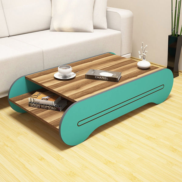 Picture of Nancy's Oak Lawn Coffee Table - Design - Brown, Blue - Fabricated Wood - 30 cm x 120 cm x 64 cm