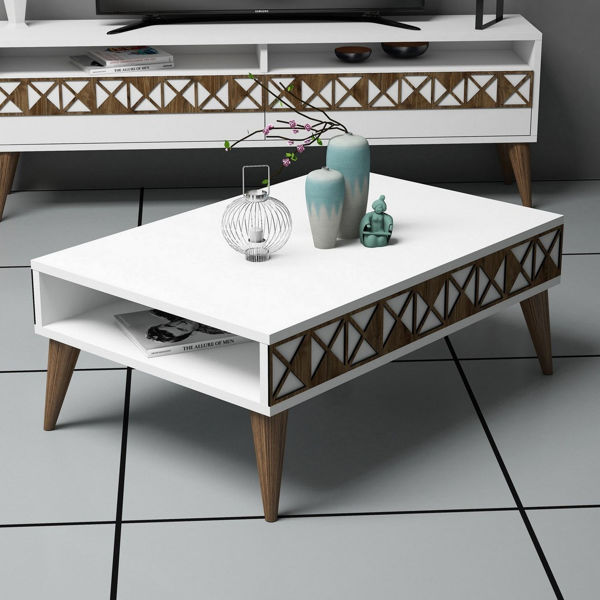 Picture of Nancy's Winter Springs Coffee Table - Modern - White, Brown - Fabricated Wood - 60 cm x 90 cm x 34.6 cm