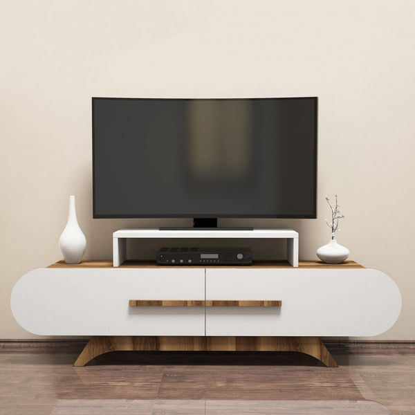 Picture of Nancy's Maple Grove TV Furniture - Modern - White, Brown - Fabricated Wood - 50 cm x 145 cm x 37 cm