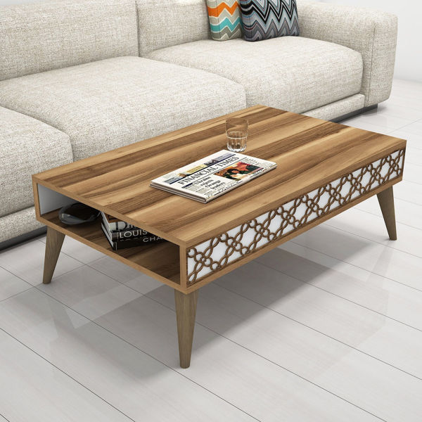Picture of Nancy's Lake Stevens Coffee Table - Modern - Brown, White - Fabricated Wood - 37 cm x 105 cm x 60 cm