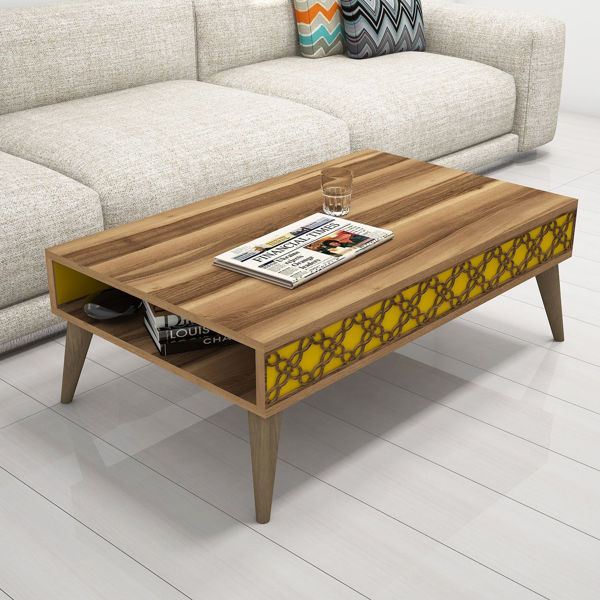 Picture of Nancy's Lake Magdalene Coffee Table - Modern - Brown, Yellow - Fabricated Wood - 37 cm x 105 cm x 60 cm
