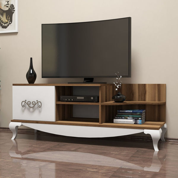 Picture of Nancy's St. Charles TV Furniture - Retro - White, Brown - Fabricated Wood - 51 cm x 130 cm x 45 cm