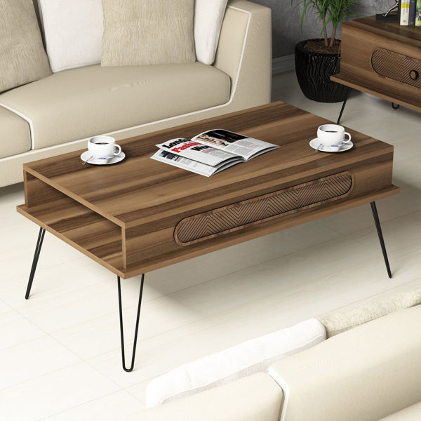 Picture of Nancy's Pleasant Hill Coffee Table - Modern - Brown, Black - Fabricated Wood, Metal - 46 cm x 105 cm x 60 cm
