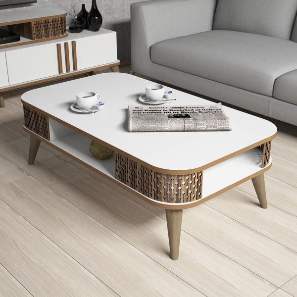 Picture of Nancy's West Whittier-Los Nietos Coffee Table - Design - Brown, White - Fabricated Wood - 35 cm x 105 cm x 60 cm