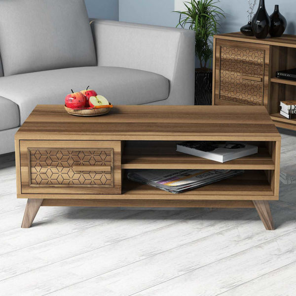 Picture of Nancy's Carrollwood Coffee Table - Modern - Brown - Fabricated Wood - 38.2 cm x 105 cm x 60 cm