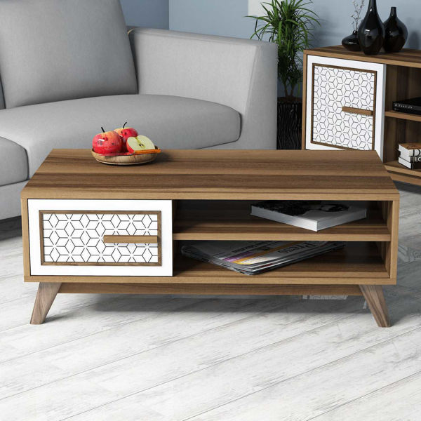 Picture of Nancy's Fairwood Coffee Table - Modern - Brown, White - Fabricated Wood - 38.2 cm x 105 cm x 60 cm