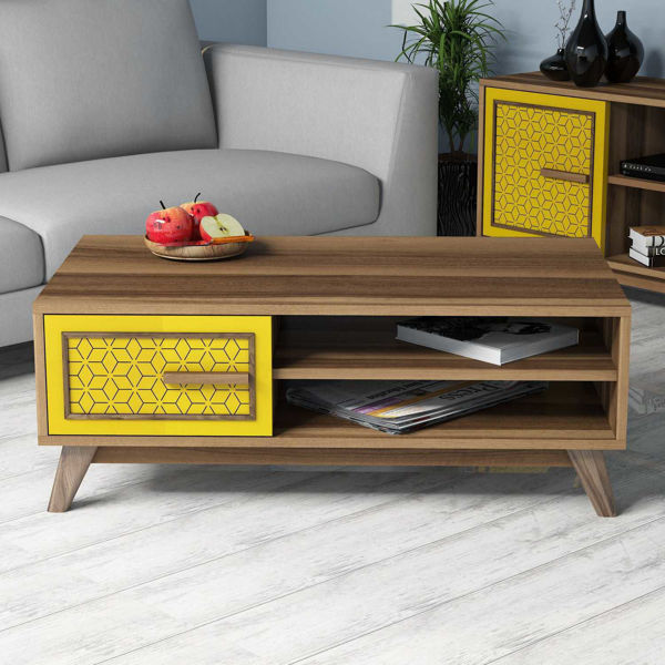 Picture of Nancy's Sherrelwood Coffee Table - Modern - Brown, Yellow - Fabricated Wood - 38.2 cm x 105 cm x 60 cm