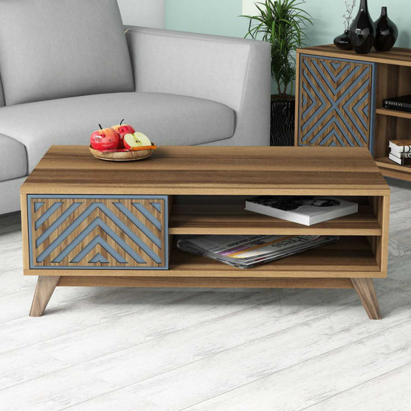 Picture of Nancy's Lauderdale Lakes Coffee Table - Modern - Brown, Blue - Fabricated Wood - 38.2 cm x 105 cm x 60 cm