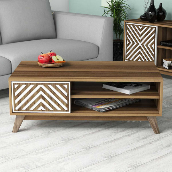 Picture of Nancy's Lino Lakes Coffee Table - Modern - Brown, White - Fabricated Wood - 38.2 cm x 105 cm x 60 cm