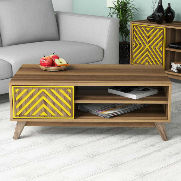 Picture of Nancy's Three Lakes Coffee Table - Modern - Brown, Yellow - Fabricated Wood - 38.2 cm x 105 cm x 60 cm