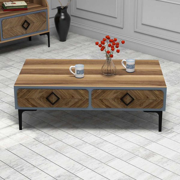 Picture of Nancy's Eggertsville Coffee Table - Modern - Brown, Yellow - Fabricated Wood - 34.6 cm x 105 cm x 60 cm