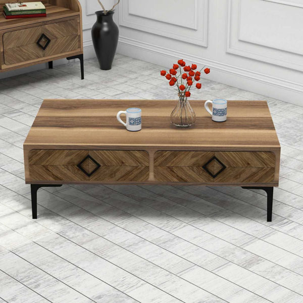 Picture of Nancy's Romeoville Coffee Table - Modern - Brown - Fabricated Wood - 34.6 cm x 105 cm x 60 cm