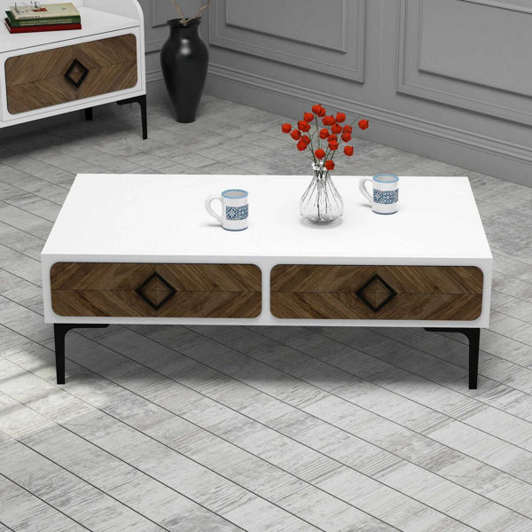 Picture of Nancy's Mooresville Coffee Table - Modern - White, Brown - Fabricated Wood - 34.6 cm x 105 cm x 60 cm