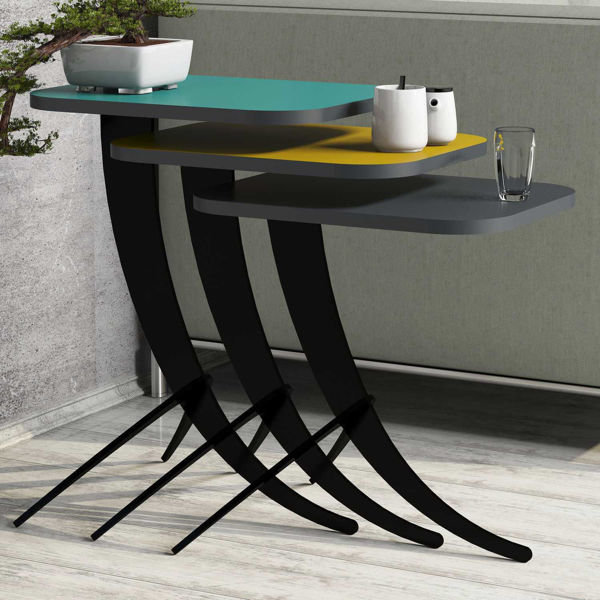 Picture of Nancy's Lincoln Park Side table - Design - Grey, Yellow, Blue - Fabricated Wood, Metal - 35 cm x 45 cm x 60 cm