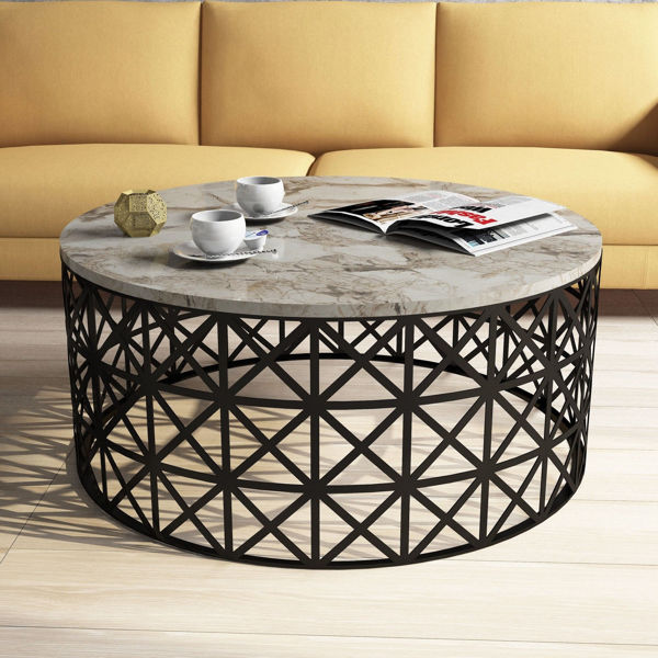 Picture of Nancy's Cliffside Park Coffee Table - Modern - Black, Brown, White - Fabricated Wood, Iron - 90 cm x 90 cm x 38 cm