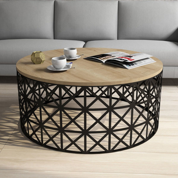 Picture of Nancy's Melrose Park Coffee Table - Modern - Black, Brown - Fabricated Wood, Iron - 90 cm x 90 cm x 38 cm