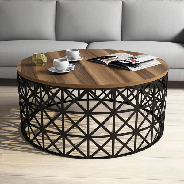 Picture of Nancy's Elmwood Park Coffee Table - Modern - Black, Brown - Fabricated Wood, Iron - 90 cm x 90 cm x 38 cm