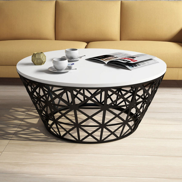 Picture of Nancy's Cottage Lake Coffee Table - Modern - Black, White - Fabricated Wood, Metal - 90 cm x 90 cm x 38 cm