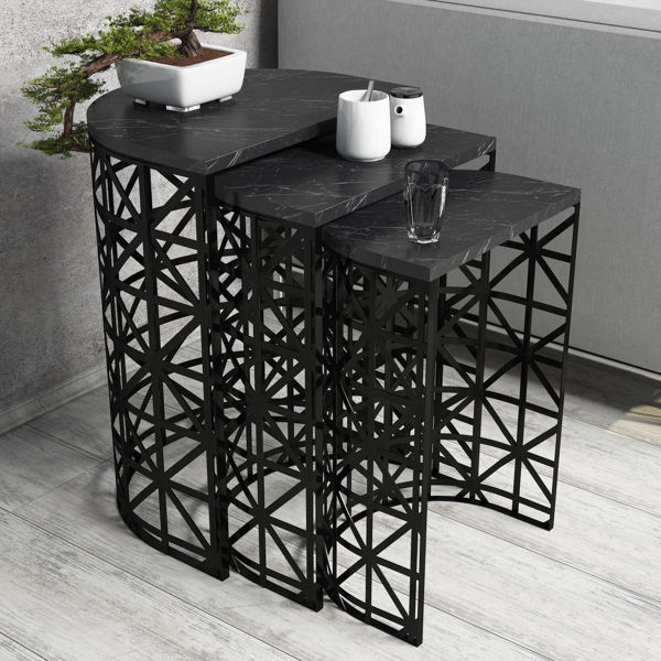 Picture of Nancy's Siloam Springs Side Table - Design - Black - Fabricated Wood, Iron - 33 cm x 46 cm x 62 cm