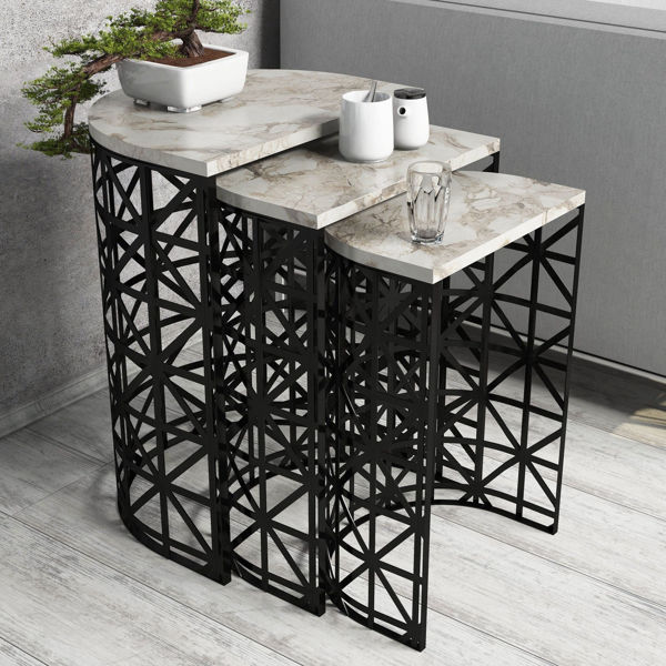 Picture of Nancy's Camp Springs Side table - Design - Black, Brown, White - Fabricated Wood, Iron - 33 cm x 46 cm x 62 cm