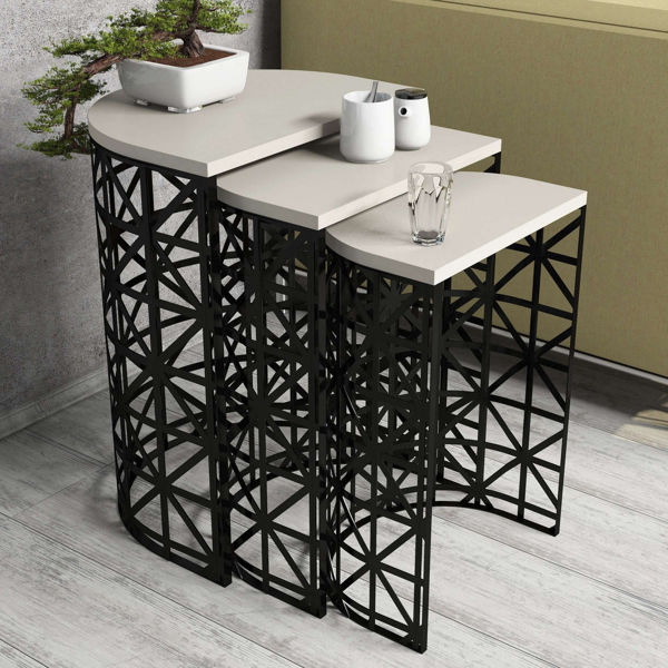 Picture of Nancy's Lithia Springs Side Table - Design - Black, Brown - Fabricated Wood, Iron - 33 cm x 46 cm x 62 cm