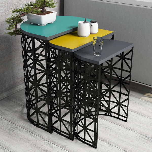 Picture of Nancy's Santa Fe Springs Side table - Design - Blue, Yellow, Grey - Fabricated Wood, Iron - 33 cm x 46 cm x 62 cm