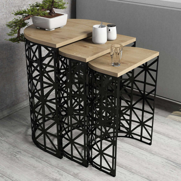 Picture of Nancy's Highland Springs Side Table - Design - Black, Brown - Fabricated Wood, Iron - 33 cm x 46 cm x 62 cm