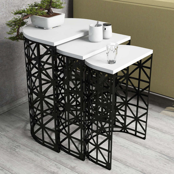 Picture of Nancy's Spanish Springs Side Table - Design - Black, White - Fabricated Wood, Iron - 33 cm x 46 cm x 62 cm