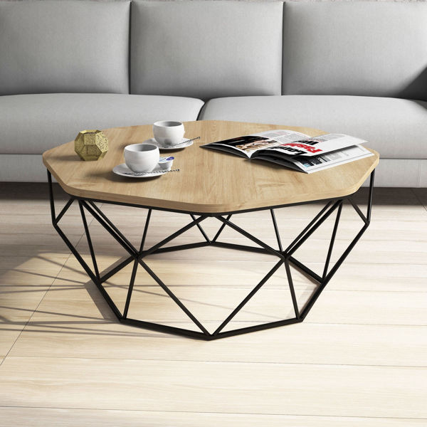 Picture of Nancy's Miami Springs Coffee Table - Design - Black, Brown - Fabricated Wood, Metal - 90 cm x 90 cm x 38 cm