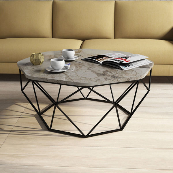Picture of Nancy's Cave Spring Coffee Table - Design - Black, Brown, White - Fabricated Wood, Metal - 90 cm x 90 cm x 38 cm