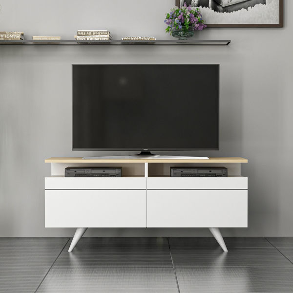 Picture of Nancy's Casas Adobes TV Furniture - Modern - White, Brown - Fabricated Wood - 35 cm x 120 cm x 52 cm