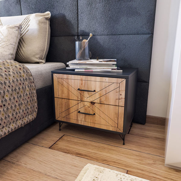 Picture of Nancy's Sammamish Bedside Table - Industrial - Grey, Brown - Fabricated Wood, Metal - 40 cm x 50 cm x 55 cm