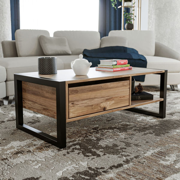 Picture of Nancy's South Riding Coffee Table - Modern - Brown, Black - Fabricated Wood, Metal - 55 cm x 105 cm x 40 cm