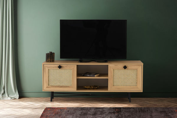 Picture of Nancy's North Olmsted TV Furniture - Scandinavian - Brown, Black - Fabricated Wood - 40 cm x 140 cm x 60 cm