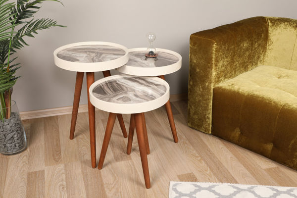 Picture of Nancy's Middleburg Heights Side Table - Design - White, Brown, Grey - Fabricated Wood - 39 cm x 39 cm x 60.5 cm