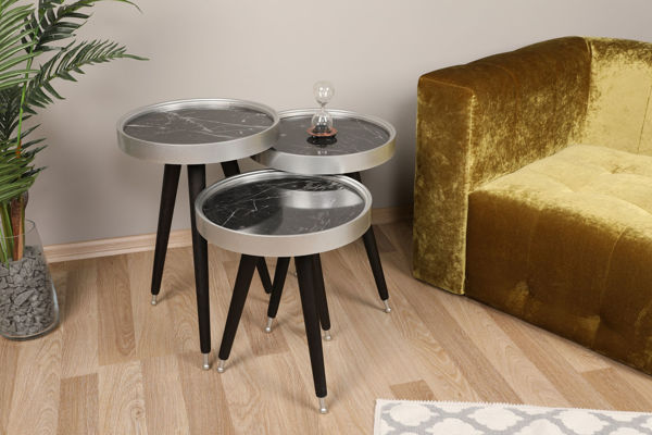 Picture of Nancy's Glenn Heights Side Table - Design - Black, Silver - Fabricated Wood - 39 cm x 39 cm x 58.5 cm