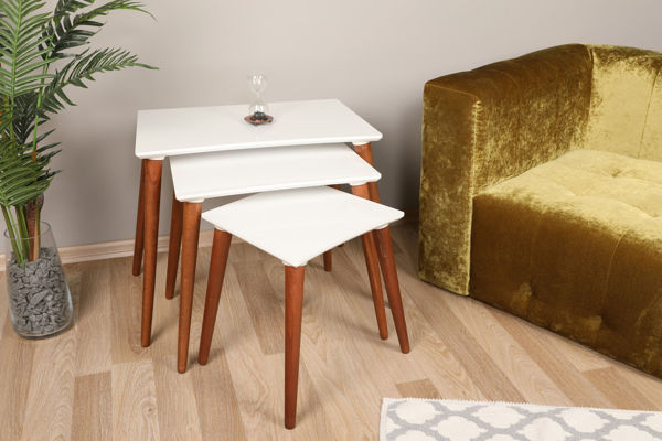 Picture of Nancy's Drexel Heights Side Table - Design - White, Brown - Fabricated Wood - 39 cm x 53 cm x 63.5 cm