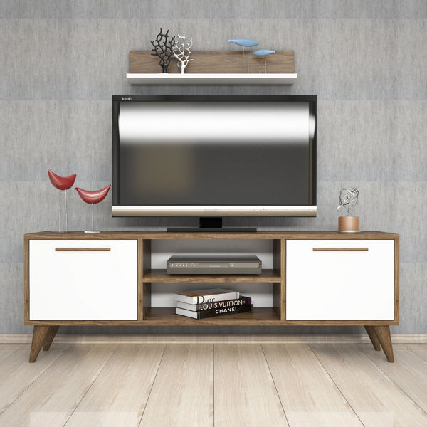 Picture of Nancy's Chesterfield TV Furniture - Scandinavian - White, Brown - Fabricated Wood - 29.5 cm x 138 cm x 48.6 cm