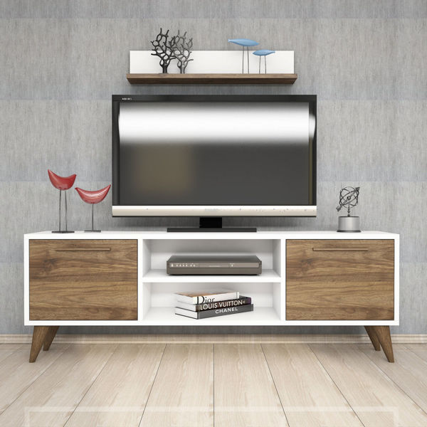 Picture of Nancy's Wake Forest TV Furniture - Scandinavian - White, Brown - Fabricated Wood - 29.5 cm x 138 cm x 48.6 cm