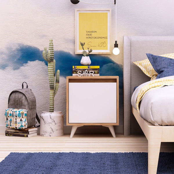 Picture of Nancy's Coram Bedside Table - Scandinavian - Brown, White - Fabricated Wood - 40 cm x 45 cm x 52 cm