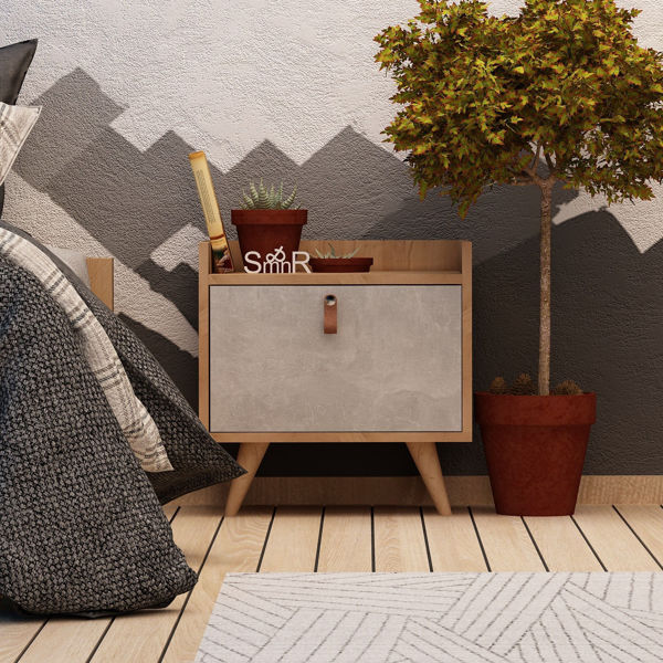 Picture of Nancy's Peachtree Corners Bedside Table - Scandinavian - Brown, White - Fabricated Wood, Leather - 40 cm x 50 cm x 55 cm