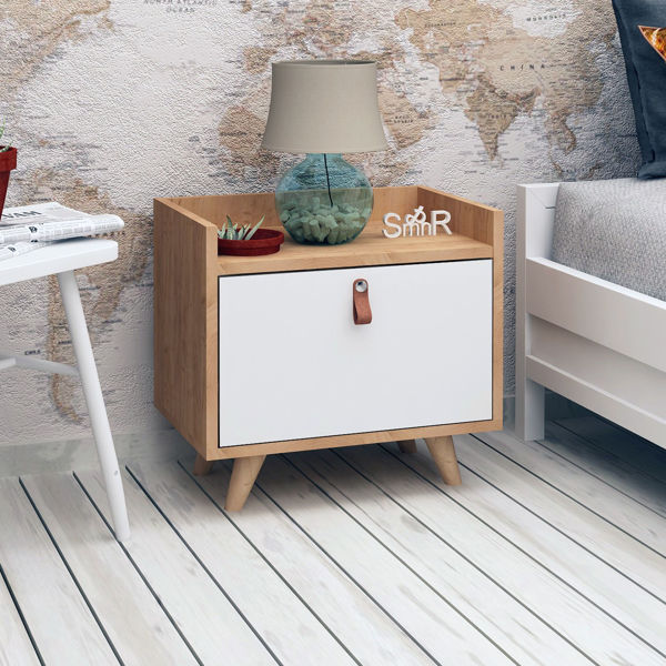 Picture of Nancy's Haltom City Bedside Table - Scandinavian - Brown, White - Fabricated Wood, Leather - 40 cm x 50 cm x 55 cm