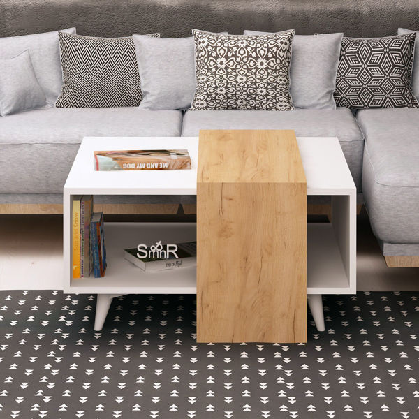 Picture of Nancy's Cutler Bay Coffee Table - Scandinavian - Brown, White - Fabricated Wood, Plastic - 80 cm x 80 cm x 40 cm