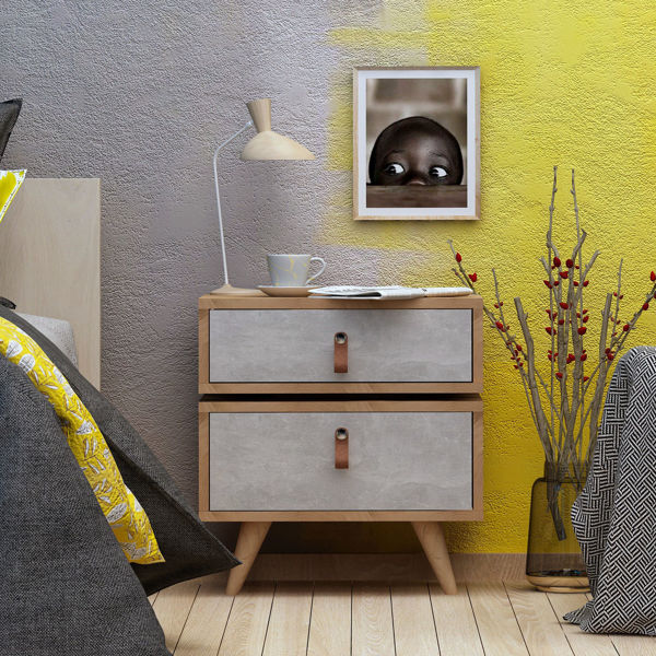 Picture of Nancy's West Babylon Bedside Table - Scandinavian - Brown, White - Fabricated Wood, Leather - 40 cm x 50 cm x 59 cm