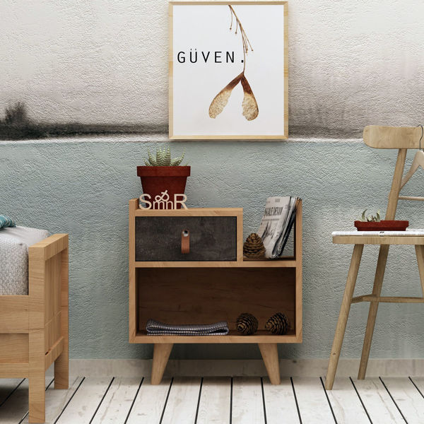 Picture of Nancy's Statesboro Bedside Table - Scandinavian - Brown - Fabricated Wood, Leather - 40 cm x 50 cm x 52 cm
